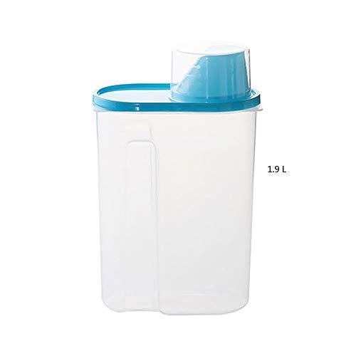 GCDXDL El arroz de Grano de Almacenamiento de contenedores de Cereales ContainerSoybean Bin con Pitorro Taza de medición hermético Sellado en el tapón del envase dispensador 1Pack -1,9 L Azul
