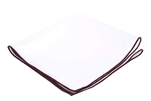 Flairs New York Gentleman's Essentials Weekend Casual White Pocket Square (White / Burgundy Red)