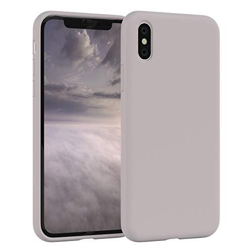 EAZY CASE Premium Silikon Handyhülle kompatibel mit Apple iPhone X/XS, Slimcover mit Kameraschutz und Innenfutter, Silikonhülle, Schutzhülle, Bumper, Handy Case, Hülle, Softcase, Rosa Braun
