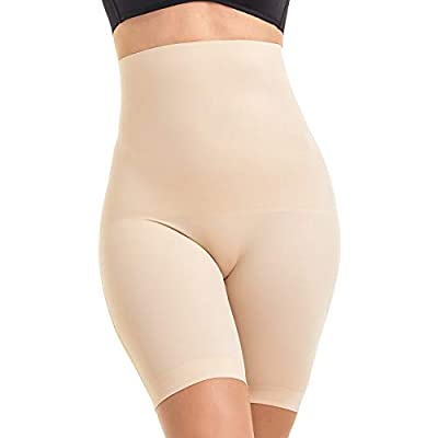 MOVWIN Women's Shapewear Seamless Thigh Slimmer Hi-Waist Tummy Control Body Shaper Smooth Short Butt Lifter Panties (XX-Large, Beige a)