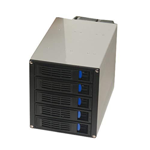 Gazechimp Carcasa del Disco Duro Interno - 5 Rack Móvil De Compartimiento De Intercambio En Caliente para HDD De 3.5 Pulgadas En Bahía De 3X 5.25 Pulgadas - Jau