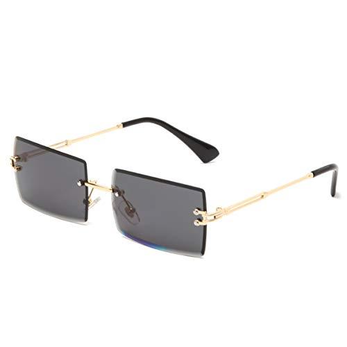 ACEHE Gafas de Sol de Viaje, Gafas de Sol cuadradas de Color Degradado con Recorte sin Montura Gafas de Sol de montaña para Viajes al Aire Libre de Moda para Damas (Verde Degradado) (Todo Gris)