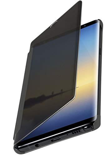 moex Dünne 360° Handyhülle passend für Samsung Galaxy Note8 | Transparent bei eingeschaltetem Bildschirm - in Hochglanz Klavierlack Optik, Silber