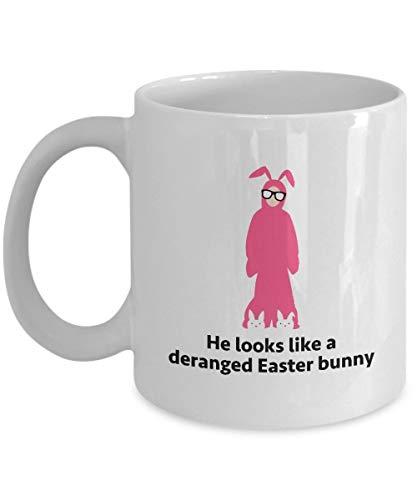 Christmas Story Ralphie Bunny Disfraz Taza de regalo divertida Taza de caf con cita de pelcula