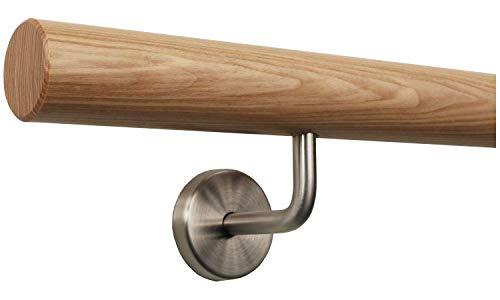 Esche Geländer Handlauf Set Bausatz mit gewinkelte Halter verschiedene Endstücke, Länge 30-500 cm aus einem Stück/zum Beispiel Länge 30 cm mit 2 Halter - Enden = gefast