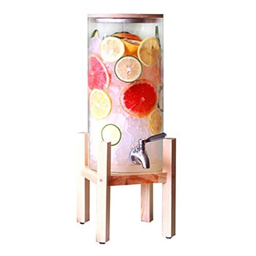 Dispensador de zumos de vidrio con grifo – Tarro de 4 litros con tapa y soporte de madera para bebidas calientes o frías para la cocina (color: transparente, tamaño: 44 x 15 cm)