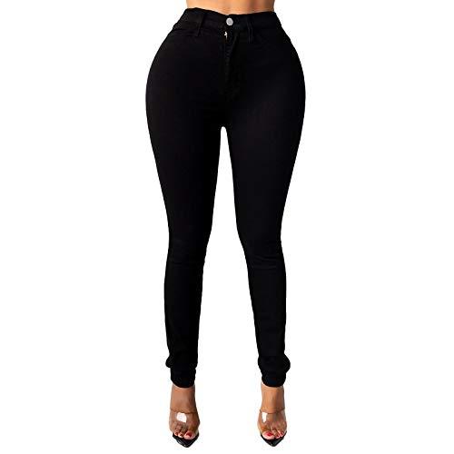 Xmiral Jeans für Damen Einfarbige Tasche Jeans Hose mit Hoher Taille Dünne Bleistifthose(b-Schwarz,S)