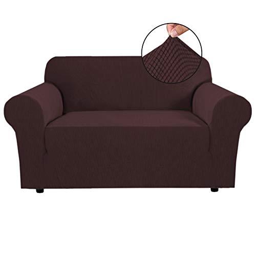 Stretch Sofa Schonbezug - Spandex rutschfeste weiche Couch Sofabezug, waschbarer Möbelschutz mit rutschfestem Schaum und elastischem Boden für Kinder, Haustiere (2 Sitzer, braun)