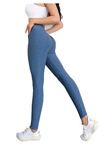 BLACK ELL Leggings para Running Training,Leggings Yoga de Gran Elásticos,Pantalones de Fitness con Textura de Cadera, Pantalones Deportivos elásticos de Cintura Alta-Azul_L