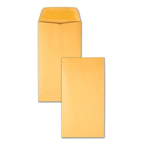 Quality Park, #7 Coin and Small Parts Envelopes, Gummed, Brown Kraft, 3.5x6.5, 500 per box (50762)