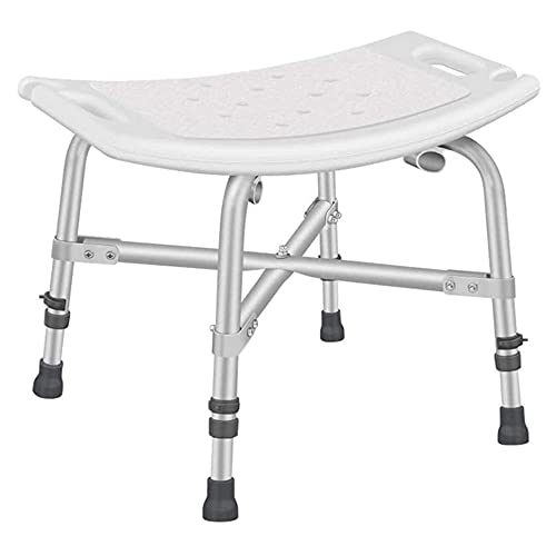 Duschstuhl für ältere Schwere-Duschsitz mit Waffen und Rücken für Senioren Duschhocker Hilfsmittel Tragbares Bad-Weiß A.