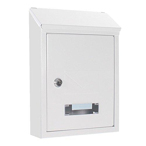 HomeDesign brievenbus HDM-2100-wit, naambordje, twee inwerpsleuven kijkvenster, plaatstaal