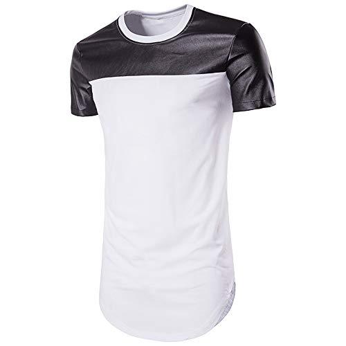 T-Shirt Hombre Verano Cuello Redondo Ajuste Regular Moderno Hombre Cuero Sintético Deportiva Camisa Manga Corta Casuales Camisa Básica Casual Transpirable Correr Shirt A-White M