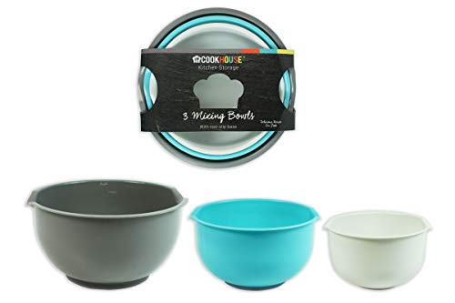 Pack Of 3 Pink Kitchen Baking & Mixing Plastic Bowls with Non-Slip Base - 2.5l, 2l, 1.5l