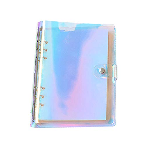 6-Ring Binder Cover Refillable Notebook Shell,Snap Button Lock (Multicolor, A5)