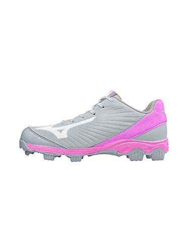 Mizuno Women's 9-Spike Advanced Finch Franchise 7 Fastpitch Softball Cleat Shoe, Charcoal - Pink, 8 B US