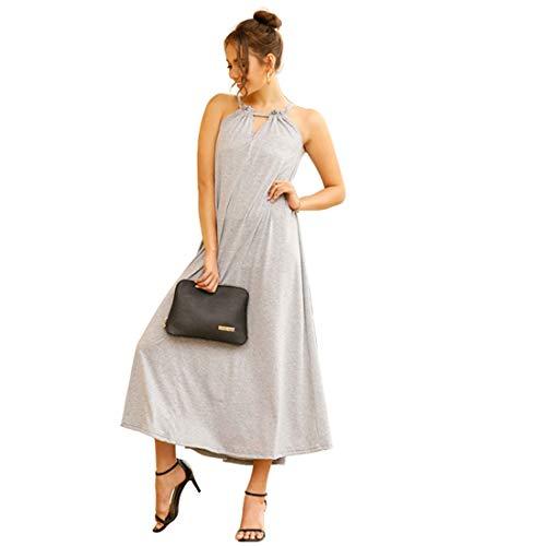 Hanks 'Shop. Kleid-dünne Beach Resort Solid Color Sexy Straps-Kleid (Color : Light Grey, Size : L)