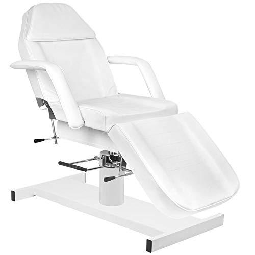 Activeshop Basic 210A Hydraulische Kosmetikliege Massageliege Massagetisch Massagestuhl Weiss bis 200 kg belastbar Premium-PU-Leder 180 x 63 x 64-80 cm (L x W x H)