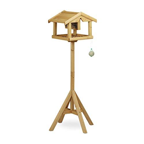 Relaxdays vogelhuisje met standaard, van hout, onbehandeld, staand, vogelvoerhuisje, bouwpakket, h x b x d: 117 x 50 x 50 cm, bruin