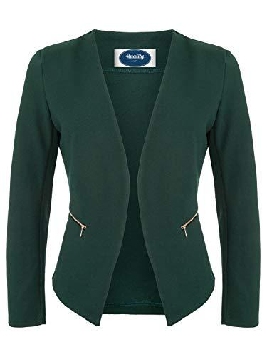 4tuality AO Blazer kragenlos mit Zipper dunkelgrün Gr. XXXXL