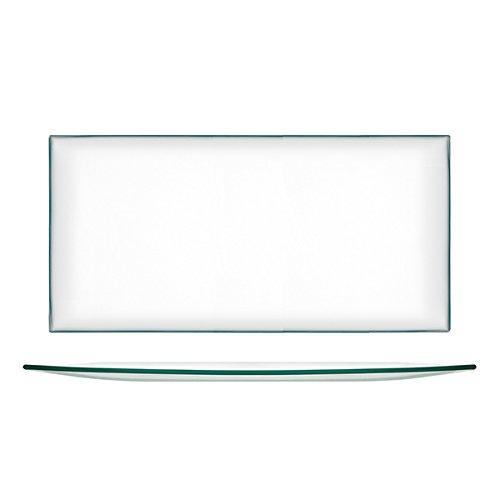 H&H 9264700 - Juego de 6 platos de cristal rectangular, transparente, 39 x 21 cm