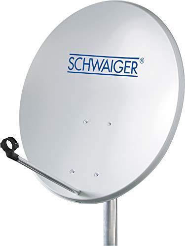 SCHWAIGER -715835- Satellitenschüssel | SAT Antenne mit LNB-Tragarm und Masthalterung | Sat-Schüssel aus Aluminium | Offset Antenne | 55 x 62 cm | hellgrau