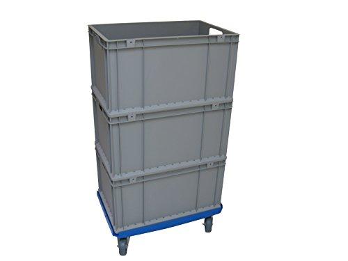 1 Transportroller 600x400mm + 3 Boxen, ABS Rahmen blau, graue Gummiräder Kistenroller Rollwagen, Eurokisten