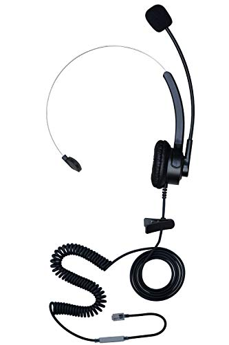 KerLiTar E07S Monaural Headset for Call Center Corded Phone 4-Pin RJ9 Noise Canceling Headphone for Phone Dial Pad Home Office Telephone Earphone for Business