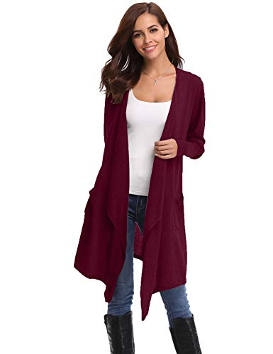 Abollria Cardigans for Women Lightweight Long Sleeve Waterfall Open Front Midi Long Cardigan with Pockets Wine Red