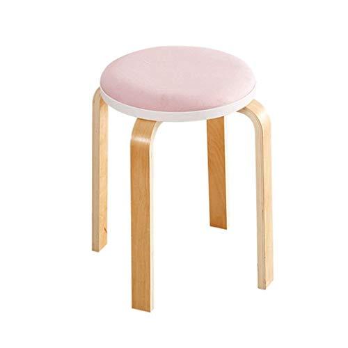 Repose-pieds rembourré Chaise en bois rétro 4 pieds rondes Chaise de maquillage Tabouret de maquillage Coussin de siège en cuir pour Restaurant | Meubles de salon (Couleur : Pink)