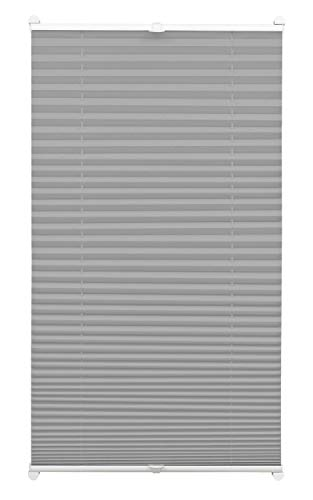 GARDINIA Plissee zum Klemmen, Blickdichtes Faltrollo, Alle Montage-Teile inklusive, EASYFIX Plissee verspannt mit zwei Bedienschienen, Schiefer, 75 x 130 cm (BxH)