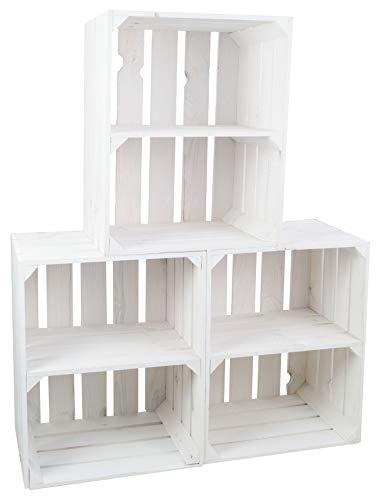 Kistenkolli Altes Land 3er Set Neue weiße Obstkiste Johanna/Schuhregal Ablageregal Beistelltisch Schuhbox Weinkiste Apfelkiste Holzkiste Regalkiste Ablagekiste (3er Set weiß QUER)