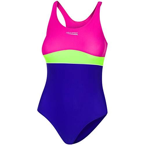 Aqua Speed Kinderbadeanzug Mädchen 4/5 Jahre | Schwimmanzug für Kinder | Swimsuits One Piece Kids | Badeanzug Kleinkind | Badebekleidung mit UV-Schutz | 93 Violet - Green - pink | Emily