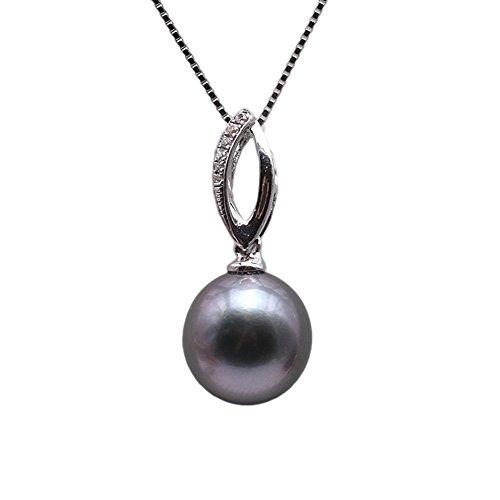 JYX AAA Tahiti Perle Damen Perlenkette 9,5 mm Tahiti Zuchtperlen Schwarz Anhänger Halskette mit Zirkonen 45 cm