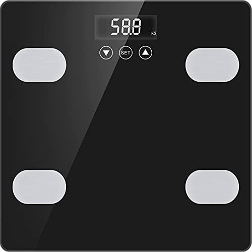 Bascula de Baño Bascula Digital de Casa Bascula Grasa Corporal y Muscular para Peso Óseo IMC Muscular Masa Calorías Agua Proteínas