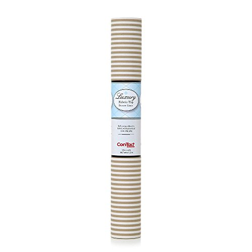 Con-Tact Brand Non-Adhesive Luxury Fabric Shelf and Drawer Liner, 18-Inches by 4-Feet, Pajama Stripe Tan, 6 Rolls