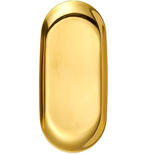 Vassoio Asciugamano in Acciaio Inox Vassoio Piatto Piatto Piatto Piatto Vassoio di Frutta vassoi di Frutta Cosmetici Gioielli organizzatore,organizzazione Domestica (Color : Gold, Size : S)