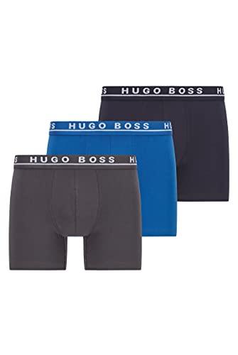 BOSS Herren Boxer Brief 3P CO/EL Dreier-Pack eng anliegende Boxershorts aus Stretch-Baumwolle