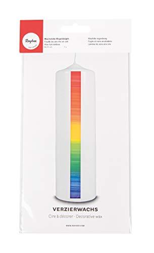 Rayher 31544990 Verzierwachs Regenbogen, Querstreifen, Verzierwachsplatte 20 x 10 cm, Wachsfolie zum Kerzen verzieren, Kerzenwachs, Wachsfolie