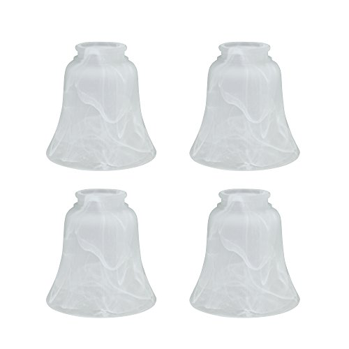 Aspen Creative 23030-4 Transitional Style Replacement Bell Shaped Glass Shade with 2 1/8 Fitter Size (4 Pack), 4 3/4 high x 4 3/4 Diameter, Alabaster