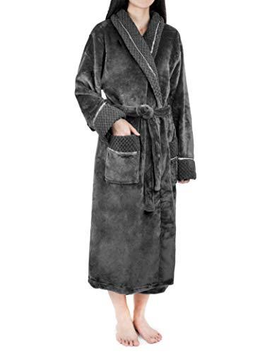 Deluxe Women Fleece Robe with Satin Trim | Luxurious Plush Spa Bathrobe Waffle