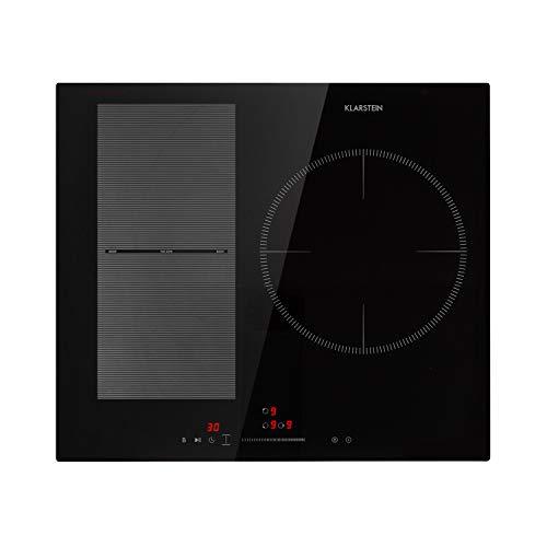 Klarstein Delicatessa 3 Flex placas de inducción – Fogones para cocina, autárquico, 3 zonas, 6600 W, 9 niveles, zona de paella, reconoce las ollas, programable, Control táctil, Vitrocerámica, Negro
