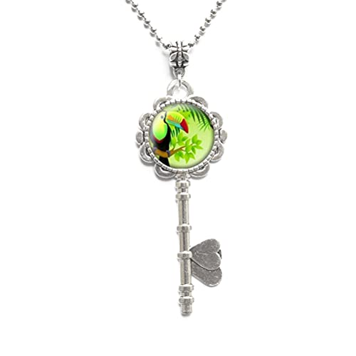 Collar de llave tropical Toucan joyería exótica Tropical Toco Toucan Bird Jewelry Amante de aves Regalo Toucan Lover Regalo Regalo Loro Llave-#138
