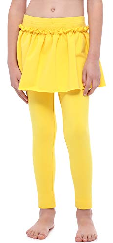 Merry Style Mädchen Lange Leggings aus Baumwolle mit Rock MS10-255 (Gelb, 140 cm)