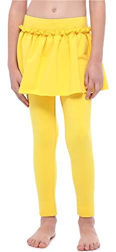 Merry Style Leggings Mallas Largas con Falda Niña MS10-255 (Amarillo, 110 cm)