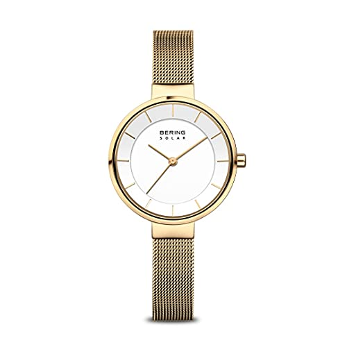 Bering Reloj de pulsera analógico de cuarzo solar con correa milanesa de acero inoxidable 14631-324