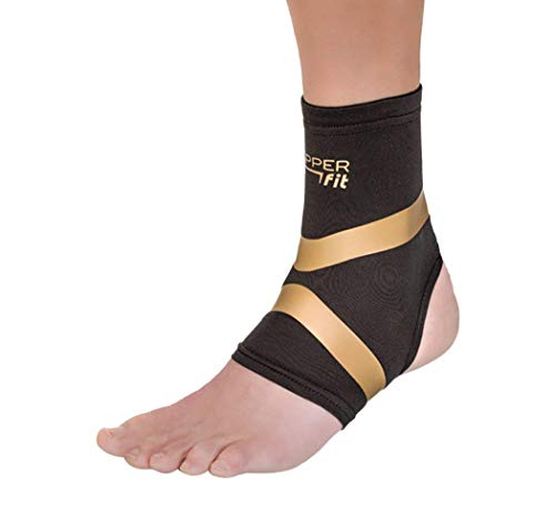 Copper Fit Pro Series Performance Compression Ankle Sleeve, Black with Copper Trim, X-Large
