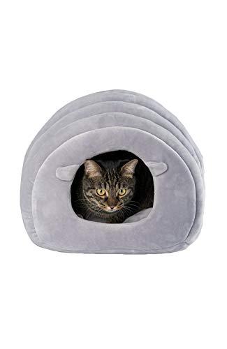 pidan ピダン 猫 ベッド 猫ハウス 冬 ドーム (グレー)