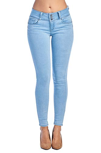 TwiinSisters Womens Amazing Butt Lift Mid-Rise Stretch Denim Skinny Jeans with Comfort Stretch, Lt. Blue 93400, 0