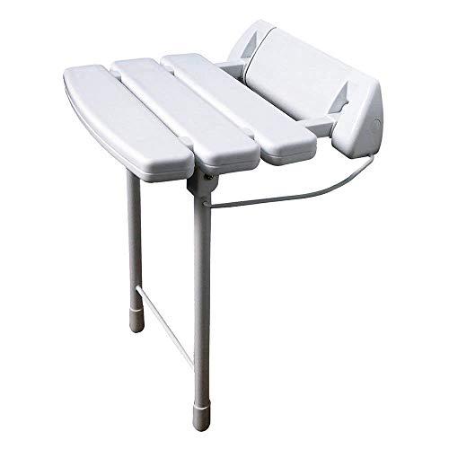 Kibath 437041 Ducha abatible con Patas Plegables y Estructura de Acero Inoxidable. Asiento Fabricado en ABS Lacado Blanco máxima Densidad. para Personas de Movilidad Reducida. Repuestos garantizados ✅
